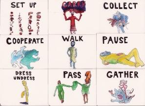 cartes d'activités : parades & changes, replays : dessin Mathias Poisson